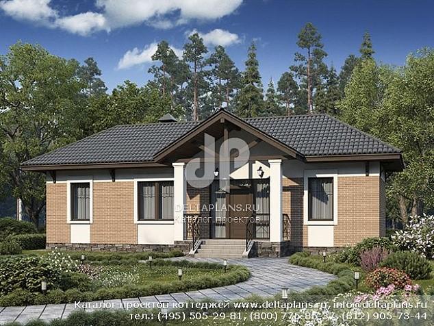 Проект узкого одноэтажного дома с сауной