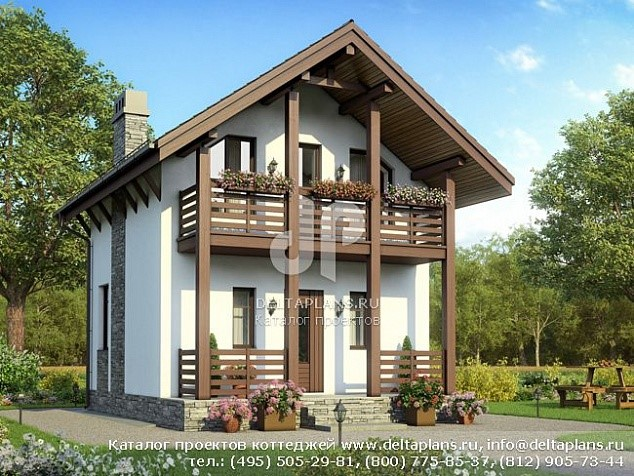 Проект маленького дома 6х6 с мансардой