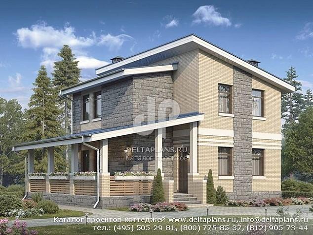 Двухэтажный дом 8х8 с террасой