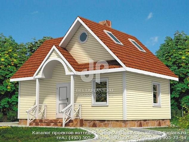 Небольшой одноэтажный дом с мансардой для сезонного проживания