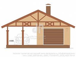 E-054-1K Проект гаража с навесом 12х8